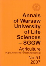 Annals of Warsaw of Life Sciences - SGGW. Agriculture 51