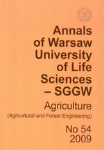 Annals of Warsaw University of Life Sciences - SGGW. Agriculture No 54
