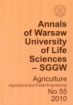 Annals of Warsaw University of Life Sciences - SGGW. Agriculture 55