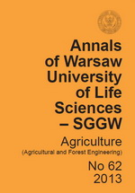 Annals of Warsaw University of Life Sciences - SGGW. Agriculture No 62