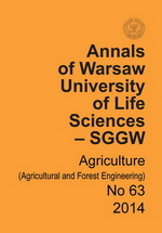 Annals of Warsaw University of Life Sciences - SGGW. Agriculture No 63