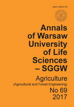 Annals of Warsaw University of Life Sciences - SGGW. Agriculture No 69