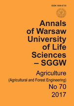 Annals of Warsaw University of Life Sciences - SGGW. Agriculture No 70