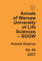 Annals of Warsaw University of Life Sciences - SGGW. Animal Science No 44