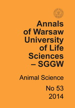 Annals of Warsaw University of Life Sciences - SGGW. Animal Science No 53