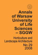 Annals of Warsaw Agricultural University. Horticulture and Landscape Architecture No 29