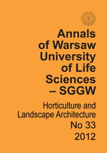 Annals of Warsaw Agricultural University Horticulture and Landscape Architecture No 33
