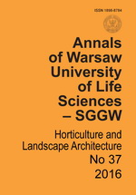 Annals of Warsaw Agricultural University Horticulture and Landscape Architecture No 37